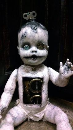 Tick Tock creepy steampunk doll by EleganceOfTheHeart on Etsy