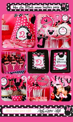 Hot pink minnie mouse inspired party package by partyloversshop