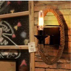 美式灯具现代简约复古创意个性卧室餐厅走廊酒吧咖啡厅麻绳壁灯