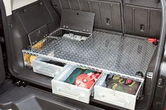 Cargo-area drawers make the most of the H3's storage space. You can keep all of your off-road equipment hidden and out of the way until you need to use it. The drawers are tough aluminum diamond-plate. The cargo-area box also houses the 12V air compressor for airing up tires or just inflating a mattress.