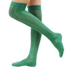 """Amazon.com: tabbisocks Women's """"Crocheted"""" Over The Knee Socks (Forest Green): Clothing"""