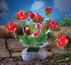 Solar Fiber Optic Roses Arrangement