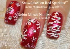 Snowflake Nail art on red SPARKLES by Robin Moses!