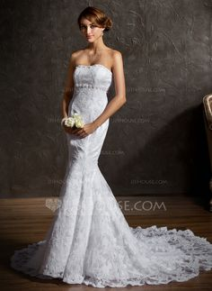 Wedding Dresses - $246.99 - Trumpet/Mermaid Sweetheart Chapel Train Satin Lace Wedding Dress With Beadwork (002001336) http://jjshouse.com/Trumpet-Mermaid-Sweetheart-Chapel-Train-Satin-Lace-Wedding-Dress-With-Beadwork-002001336-g1336?ver=xdegc7h0