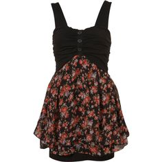 3 Button Dress By Wal G** (84 CAD) ❤ liked on Polyvore featuring dresses, vestidos, topshop, casual dresses, women, layered dress, flower dress, elastic waist dress, brown dress and blossoms dresses