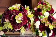 www.flowerhillflowers.com #fhflowers #pradobalboapark #weddings #greenburgundyweddingflower