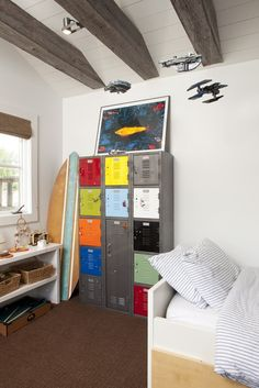 vintage lockers for storage and decor...uh, plus what looks to be the Millennium Falcon overhead, too
