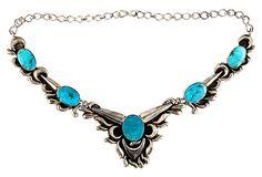 Repoussé Silver & Turquoise Necklace