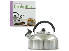 """Whistling tea kettle Prepare teas, coffee or even soups quickly and easily with this whistling tea kettle. Kettle is made of lightweight stainless steel. Makes a great kitchen accessory! Comes packaged in a sturdy box. Can hold 1.3 quarts. Measures approximately 7 1/2"""" across the bottom and is 7 1/2"""" tall including handle."""