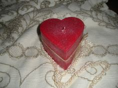 This heart is made from palm oil wax.  The fragrance if Amber Rose!  Very nice!