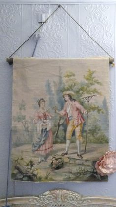 Antique French tapestry model