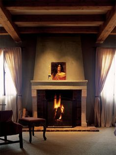 Fireplaces. I love that there's windows on both sides of the fireplace.