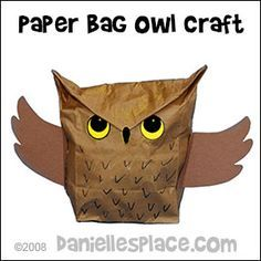 Owl Paper Bag Craft For Children From Www Daniellesplace Com