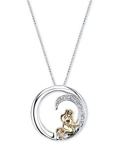 Disney Little Mermaid Ariel Diamond Accent Pendant Necklace in Sterling Silver - Necklaces - Jewelry & Watches - Macy's