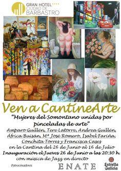 """Cartel exposición """"Mujeres del Somontano unidas por pinceladas de arte"""" www.ghbarbastro.com"""