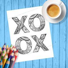 Adult coloring pagesXOXO wall art decor XOXO by olyadesign on Etsy