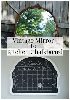 How to turn a thrifted vintage mirror into a cool kitchen chalkboard. An easy DIY you can do with just a few supplies. Chalkboard Paint Kitchen, Chalkboard Mirror, Make A Chalkboard, Chalkboard Ideas, Chalkboard Paint Furniture, Chalkboard Paint Projects, Chalk Board Paint Diy, Home Decor Chalkboard, Chalkboard Drawings