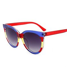 7f70e590f897 2018 Cat Eye Sunglasses Women Luxury Italy Blue Red Vintage Oversize Round  Shade