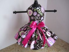 Dog Dress XS Brown with Pink By Nina's by NinasCoutureCloset