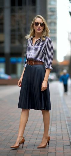navy pleated midi skirt + striped shirt + cognac accents I'm thinkin' for Fall