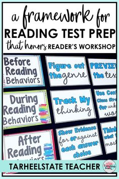 Is it possible to prepare students for standardized reading tests without drilling test prep? Using a reading test prep framework for readers workshop can help your 3rd, 4th, 5th, and 6th grade students connect reading strategies they've learned all year to the strategies and skills they will need to use on the reading test! Learn how to launch a reading test prep unit through reading tests as a genre. (reading test strategies bulletin board; test prep bulletin board)