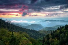 Great Smoky Mountains National Park scenic sunset landscape photography from the Blue Ridge Parkway near Cherokee in Western NC. Fine art photography of a scenic evening landscape during autumn in the Great Smoky Mountains of Western North Carolina. Sunset Landscape, Mountain Landscape, Landscape Photos, Mountain Photography, Landscape Photography, Scenic Photography, Aerial Photography, Night Photography, Photography Tips