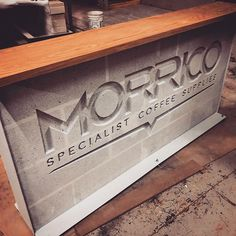 Custom coffee bar made for one of our clients. New experiment with concrete, steel and wood. Concrete Bar, Bar Counter Design, Coffee Counter, Shops, Shop Fittings, Experiment, Steel, Wood, Barbell