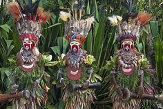 Mulheres do distrito de Mount Hagen, vestidas tradicionalmente para o Sing-sing, festival da Papua Nova Guiná, exibem uma profusão de plumas na cabeça.