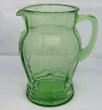 Anchor Hocking Green Depression Glass Pitcher Cameo or Dancing Ballerina