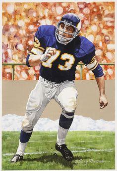 "Ron Yary original artwork for ""Goal Line Art"" by Gary Thomas."