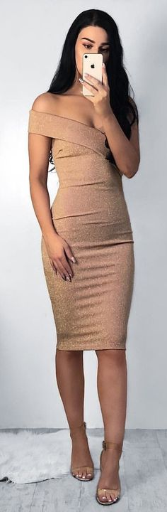#winter #outfits brown off-shoulder bodycon dress