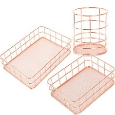 gold makeup Cheap Storage Baskets, Buy Directly from China Suppliers:Copper Storage Basket Cosmetic Organizer Rose Gold Makeup Brushes Holder Metal Wire Toiletry Collection Baskets Bathroo Rose Gold Room Decor, Rose Gold Rooms, Gold Bedroom Decor, Room Ideas Bedroom, Makeup Storage Baskets, Bathroom Storage Shelves, Food Storage, Storage Ideas, Basket Bathroom Storage