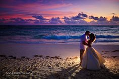 Destination wedding, sunrise, beach, Punta Cana, Dominican Republic, bride, groom, ocean