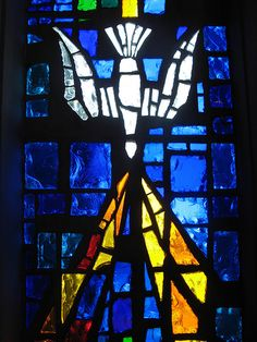 White dove holy spirit stained glass window