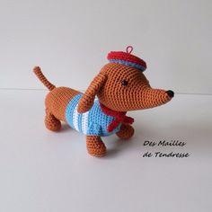 Chien teckel , fait main au crochet en  100% coton Crochet, Dinosaur Stuffed Animal, Creations, Animals, Dachshund Dog, Tricot, Amigos, Handmade, Cotton