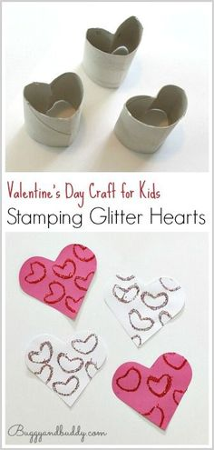 Easy Valentine's Day Craft for Kids: Stamp glitter hearts using an empty toilet paper roll. Save those cardboard tubes for heart stamping- perfect for making collages or homemade valentines! ~ BuggyandBuddy.com