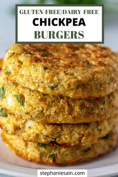 Chickpea Burgers (Gluten Free, Dairy Free) These Chickpea burgers are an easy one bowl recipe for the best vegetarian chickpea burgers. Vegetarian Burger Patties, Veggie Patties, Chickpea Burger, Recipe For Vegetable Patties, Chickpea Salad, Vegan Burger Recipe Easy, Chickpea Veggie Burger Recipe, Burger Patty Recipe, Cauliflower Patties
