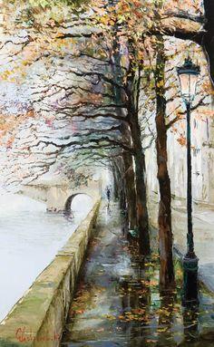 Parisian Walk by Gleb Goloubetski #painting #Art pls visit us > www.facebook.com/skalapeter7 ♡
