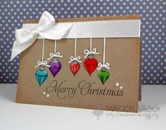 Christmas Baubles heavily colored on kraft...very striking image...