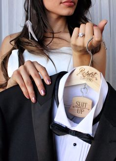New! SUIT UP hanger set for the Groom's Party. $19.00 from ScissorMill on Etsy. See more here: https://www.etsy.com/listing/482187845/groom-hanger-suit-up-personalized?ga_order=most_relevant&ga_search_type=all&ga_view_type=gallery&ga_search_query=groom%20hanger&ref=sr_gallery_6