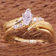 Marquise Diamond and Alaskan Gold Nugget Wedding Ring Set