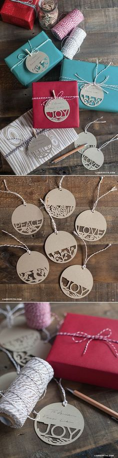Paper Cut Holiday Gift Tags is part of Holiday crafts Cricut - DIY gift tags for your holiday gifts Spread Peace, Love and Joy with these gorgeous gift tags Christmas Friends, Christmas Tag, Christmas Projects, Christmas Ideas, Xmas, Origami, Tarjetas Diy, Holiday Gift Tags, Holiday Ideas