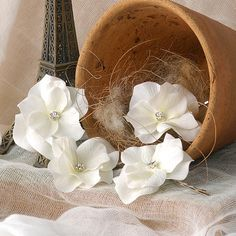 Wedding Flower Hair Accessories Ivory White by VelvetTeacup, $32.00
