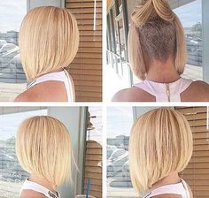 Girls want to try new hair trends and new fashion. And now, short haircuts are incredible and looks Undercut Bob Haircut, Line Bob Haircut, Bob With Undercut, Nape Undercut, Undercut Pixie, Girl Undercut, Undercut Women, Bob Haircut For Girls, Girls Short Haircuts