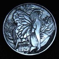 Hobo Nickel 1929 Fairy Hand Engraved by Ronald Proulx Hobo Nickel, Hand Engraving, Leprechaun, Elves, Fairies, Buffalo, Coins, Carving, Artist