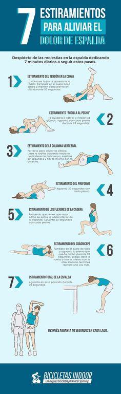 Si tienes la espalda tensa y con dolor prueba estos rápidos estiramientos. #infografías #dolorespalda #espalda