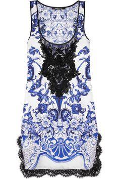 Roberto Cavalli|Embellished silk-twill mini dress|NET-A-PORTER.COM