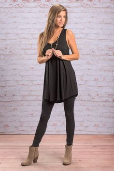 """""""Easy Street Piko Tunic Tank, Black"""" This tunic tank is so easy to style and mix and match! You will love how soft and comfy the fabric is! It's solid black color makes it even easier to layer since you can layer it with neutrals or pops of color!  #newarrivals #shopthemint"""