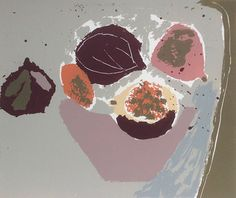 """Rosemary Vanns. - """"Figs in a Bowl"""", screenprint, Image Size34.5 x 30cm, edition of 19"""