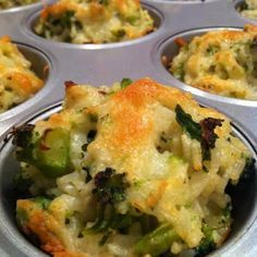 Broccoli Cheddar Rice Cups - these are the BEST Muffin Tin Recipes for Kids! Broccoli Rice Cups, Cheddar Broccoli Rice, Broccoli And Cheese, Broccoli Salad, Muffin Tin Recipes, Baby Food Recipes, Cooking Recipes, Healthy Recipes, Cooking Rice